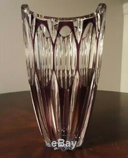 Val St. Lambert Amethyst Purple Cut To Clear Crystal Glass Vase 8 1/4 STUNNING
