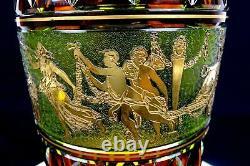 Val St Lambert Antique Cut Crystal Danse De Flore Leon Ledru 11 3/4 Vase 1855