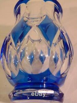Val St Lambert Cobalt Blue Cut to Clear Crystal Bud Posey Vase Diamond