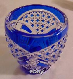 Val St Lambert Cobalt Blue Cut to Clear Crystal Bud Posey Vase Signed