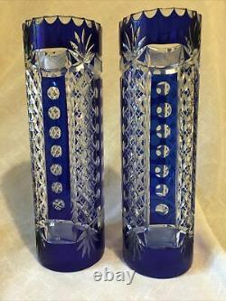 Val St Lambert Cristal Vase pair of vases 32.5 cm high blue cut to clear