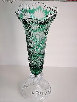 Val St Lambert Emerald Cased Cut To Clear Crystal Pedestal Vase Signed