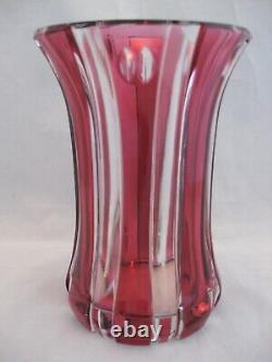 Val St. Lambert Ruby Red Cut Crystal Vase 6.75in Belgium Signed