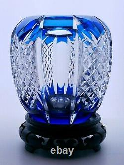 Val St. Lambert Signed Cobalt Blue Cut to Clear Crystal 4.5 Bud Vase With Stand