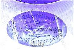 Vase Exquisite Bohemia Crystal Cobalt Blue Cut to Clear 8¼ Germany Bleikristall