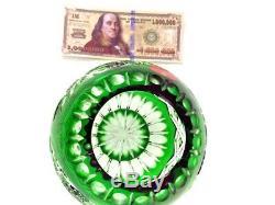 Vase/Rose Bowl, Emerald Green Cut-to-Clear Crystal, Schonborner Bleikristall Mint