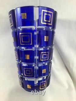 Very Nice Vintage Art Deco MCM Cut Crystal Vase with Cobalt Panels & Gold Accents