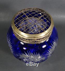 Victorian Cobalt Blue Bohemian Cut To Clear Crystal Glass Vase Flower Frog