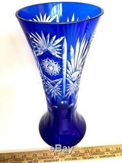 Vintage 11.5 Bohemian Czech Cobalt Blue Cut To Clear Crystal Vase