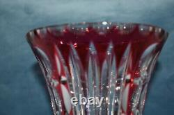 Vintage 11 CRYSTAL Cranberry Red Cut to Clear Crystal Cut Trumpet Vase ABP