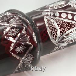 Vintage 12 Bohemian Ruby Cut To Clear Crystal Glass Vase Thumbprint Panels