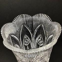 Vintage 14 Tall Heavy Cut Crystal Hurricane Vases (2) Stunning Set
