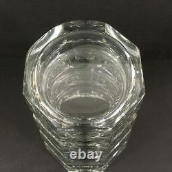 Vintage 1930s Moser Josef Hoffmann Panel Cut Crystal Vase 9.75