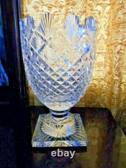 Vintage 1970's Waterford Crystal Class Footed Vase Master Cut Signed