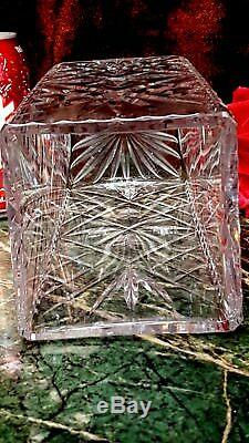 Vintage 60s 70s Vintage SQUARE 10 Tall CUT GLASS CRYSTAL Vase BEAUTIFUL PATTERN