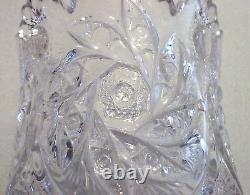 Vintage 6 AMERICAN BRILLIANT ABP Pinwheel CUT CRYSTAL Glass SAW TOOTH Edge VASE
