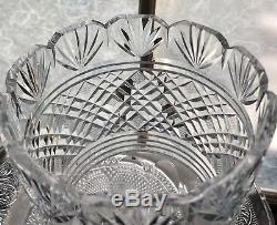 Vintage 8x5 Waterford Irish Crystal Georgian Master Strawberry Fan Cut Vase EUC
