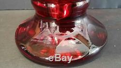 Vintage 9.25 BOHEMIA Crystal RUBY RED Cut to Clear VASE Art Glass Heavy Czech