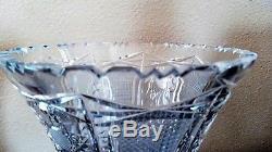 Vintage ABP Cut Glass Crystal Corset Vase Gorgeous 10 Tall