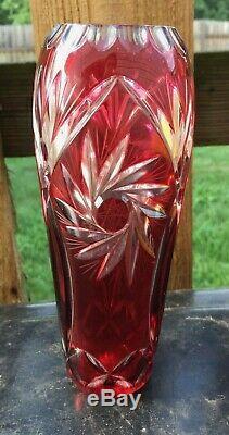 Vintage AJKA Albracca CZECH BOHEMIAN Cranberry Ruby Red cut CRYSTAL 7 bud VASE
