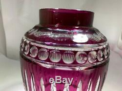 Vintage Amethyst Purple To Clear Large Cut Crystal Czech Vase