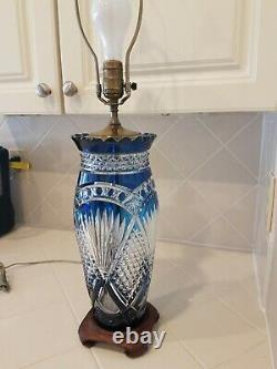 Vintage Antique Bohemian Blue Cut To Clear Glass Crystal (15 tall Vase) Lamp