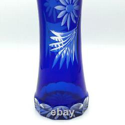 Vintage Badash Cobalt Blue Hand Cut to Clear Crystal Vase Bohemian Russian USSR