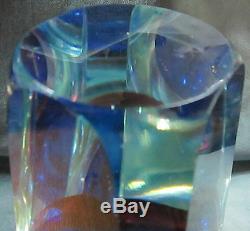 Vintage Badash Heavy Crystal Vase Violet/Cranberry Slice Cut