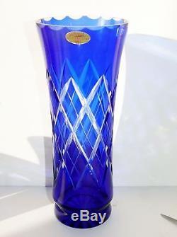 Vintage Badash Russian USSR Cobalt Blue Hand Cut Crystal Vase Diamond CrissCross