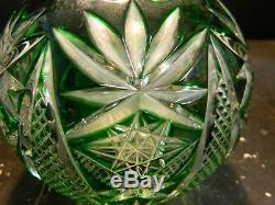 Vintage Bleikristall Leaded Cut To Clear Green Crystal Rose Bowl Vase Excellent