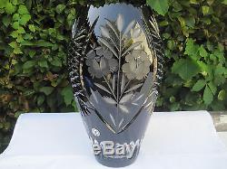 Vintage Bohemia Black 24% Lead Hand Cut Crystal Jar Shape Vase 12 Mint Nib