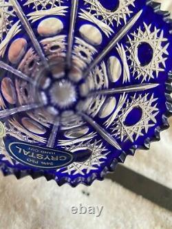 Vintage Bohemia Cobalt Blue Queen Lace Hand Cut 24% Lead Crystal Vase