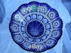 Vintage Bohemia Cobalt Blue Queen Lace Hand Cut 24% Lead Crystal Vase 8 Nib