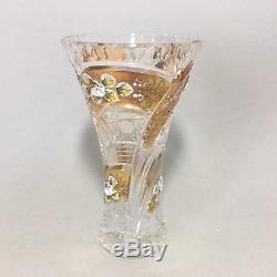Vintage Bohemia Gold Enamel Hand Cut 24% Lead Crystal vase 7 NICE Czech