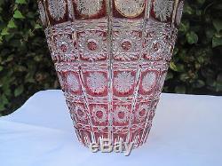 Vintage Bohemia Gold Ruby Queen Lace Cut 24% Lead Crystal Jar Shape Vase 12 Nib