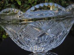 Vintage Bohemia Hand Cut 24% Lead Crystal Pedestal Bowl 9 Mint New