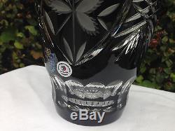 Vintage Bohemia Hand Cut Black 24% Lead Crystal Vase 10 Nib