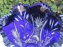 Vintage Bohemia Hand Cut Gold Ruby 24% Cased Lead Crystal Vase 10 Nib