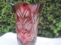 Vintage Bohemia Hand Cut Gold Ruby 24% Lead Crystal Vase 10 Nib