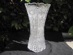 Vintage Bohemia Queen Lace 24% Lead Hand Cut Crystal Vase 11 Nib