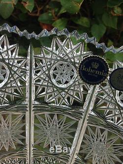 Vintage Bohemia Queen Lace Cut 24 Crystal Vase 16 Mint Nib