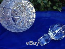 Vintage Bohemia Queen Lace Cut 24% Lead Crystal Wine Decanter 1 Liter Mint