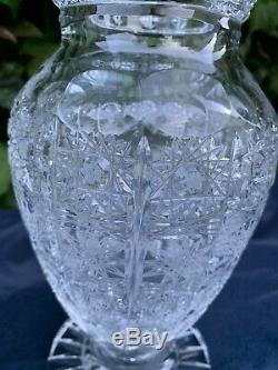 Vintage Bohemia Queen Lace Hand Cut 24% Lead Crystal Pedestal (fat) Vase 10