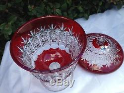 Vintage Bohemia Red Queen Lace Cut 24% Crystal Covered Vase 12 Mint Nib