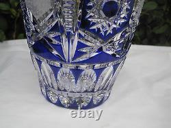 Vintage Bohemia Traditional Cut Cobalt Blue 24% Lead Cased Crystal Vase 8 Nib
