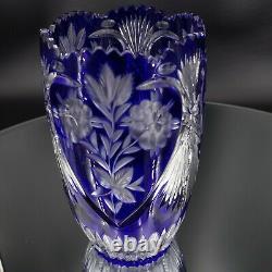 Vintage Bohemian Cobalt Blue Crystal Vase Cut To Clear 10 Tall