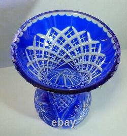 Vintage Bohemian Cobalt Blue Cut To Clear Crystal Cut Clear Glass Vase 12 Tall