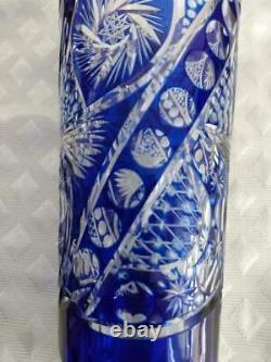 Vintage Bohemian Cobalt Cut To Clear Cut Glass Vase 9.25
