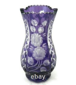 Vintage Bohemian Crystal Vase Amethyst Purple Cut to Clear withFloral Etching