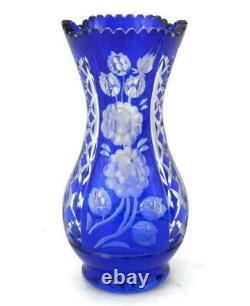 Vintage Bohemian Crystal Vase Cobalt Blue Cut to Clear withFloral Etching